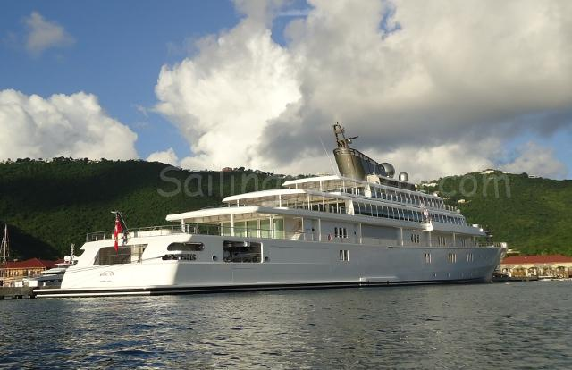 The Rising Sun a 453ft super yacht! Moored in Charlotte Amalie at the Yacht Haven Grande.