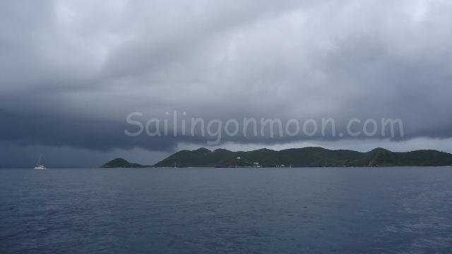 Storms coming our way as we head towards the protection of Trellis Bay, Tortola.