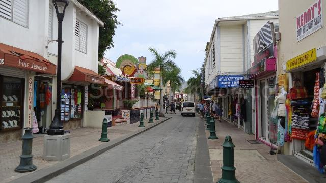 Front street is lined with jewelry shops, camera and electronic stores, liquor and tobacco stores, boutiques, restaurants, casinos and duty free stores.