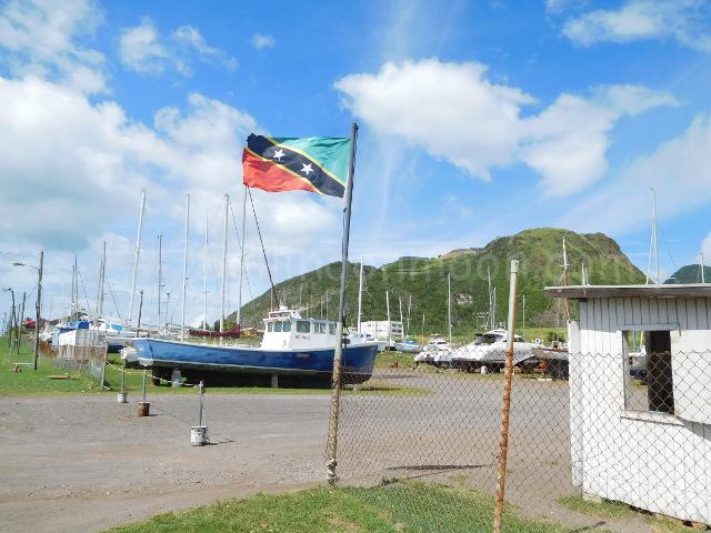 St. Kitts flag flying proudly. What we like to see during the day when we are at the boatyard...wind, it is incredibly hot without it!